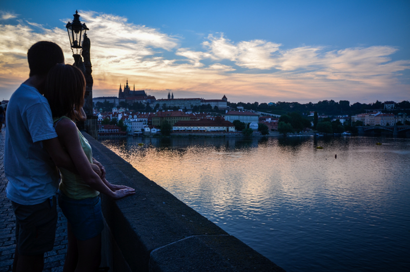 Pont Charles coucher de soleil